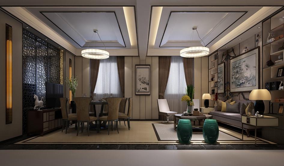 上海浦东商河商务园 新中式从生活功能入手,先满足使用者对空间实用的功能需求。进而再追求空间的美观度。商河商务园做为重点楼盘,对楼盘整体布局非常了解。客户喜欢的新中式风格。业主是四口之家,夫。地下室三面镂空采光。地下室简洁大气,客厅舒适为主。二楼整层空间用于居住,所以做成一个套房内带衣帽间,卫生间。主材名称:大理石、木饰面、镜面;软装信息:壁纸、新中式沙发。
