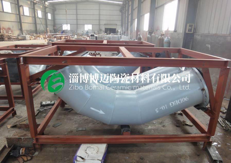 上海鋼廠排灰管道耐磨陶瓷管道彎頭安裝方案 服務為先 淄博博邁陶瓷材料供應