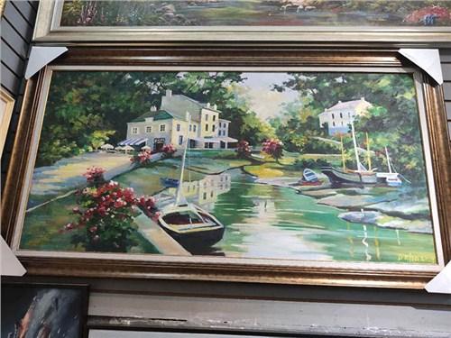 手绘砖墙油画图片