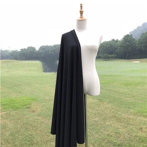 春夏天薄款黑色蓝色纯色罗马布料涤盖棉弹力全棉针织