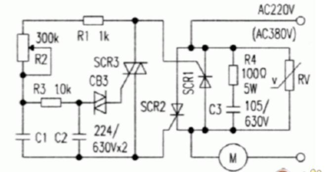 。 将两只单向可控硅SCRl、SCR2反向并联.再将控制板与本触发电路连接,就组成了一个简单实用的大功率无级调速电路。这个电路的独特之处在于可控硅控制极不需外加电源,只要将负载与本电路串联后接通电源,两个控制极与各自的阴极之间便有5V~8V脉动直流电压产生,调节电位器R2即可改变两只可控硅的导通角,增大R2的阻值到一定程度,便可使两个主可控硅阻断,因此R2还可起开关的作用。该电路的另一个特点是两只主可控硅交替导通,一个的正向压降就是另一个的反向压降,因此不存在反向击穿问题。但当外加电压瞬时超过阻断电压时