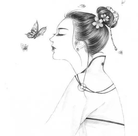 素描古风美人,素描教程,素描插画美女,素描插画,插画教程