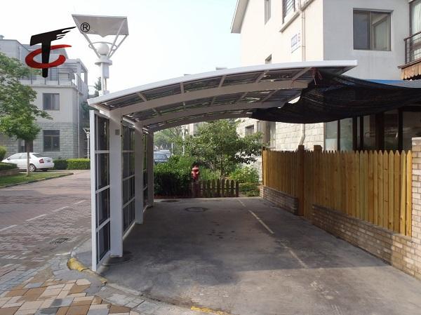 铝合金单边车棚安装设计
